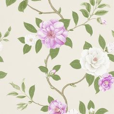 Sanderson Christabel Wallpaper - 213375 ($84) ❤ liked on Polyvore featuring home, home decor, wallpaper, purple, purple floral wallpaper, flower pattern wallpaper, purple pattern wallpaper, floral wallpaper and branch wallpaper