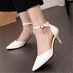 US $19.99 Pointed Toe Stiletto Mid Heels Ankle Strap Patent Leather Women Pumps Prom Shoes White