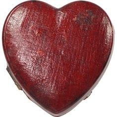 19th Century Novelty Travelling Inkwell Scarce Red Leather Heart Shape English Circa 1880