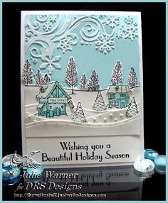Holiday card w/ embossed areas colored w/ white marker - DRS Designs images