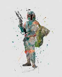 Boba Fett Star Wars Watercolor Art - VividEditions