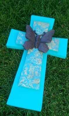 Teal Vintage Butterfly wooden cross by bstreetboutique on Etsy, $22.50