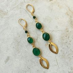 """Maria Virginia a 3"""" earring with 14K gold filled lobster closure. Green Onyx, Swarovski Crystal and Brass. Available for you at our website"""