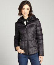Laundry by Shelli Segal : black oversized collar short lightweight down coat style #323665901