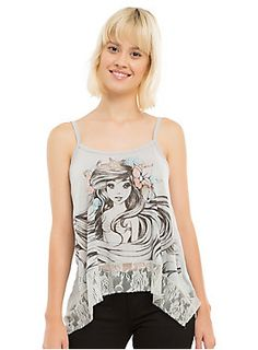 """<div>Honestly, why doesn't Ariel start a beauty vlog. Look at those luscious locks and perfect eye shadow! Share the knowledge, merwoman! Don't lie, you know you would watch it. For now we just have to enjoy her image on the front of this crop tank top from Disney. It has a cute criss-cross back detail and a grey lace panel at the sharkbite hem.</div><div><ul><li style=""""LIST-STYLE-POSITION: outside !important; LIST-STYLE-TYPE: disc !important"""">Self: 96% polyester; 4% spandex</li><li st..."""