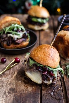 Gingery Steak and Brie Sliders with Balsamic Cranberry Sauce.    Really nice recipes. Every hour.