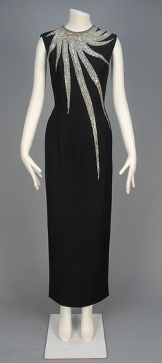 MR. BLACKWELL JEWELED EVENING DRESS, 1960s.