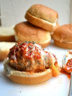 Cheesy Stuffed Meatball Sliders from Rachel Schultz -made these & was asked for the recipe! Used Jimmy Dean Hot sausage instead of bacon & fresh basil. I Love Food, Good Food, Yummy Food, Healthy Food, Beef Recipes, Cooking Recipes, Hamburger Recipes, Barbecue Recipes, Meatball Recipes