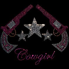 10x9  - Cowgirl (revolvers & stars) - Cowgirls, guns, revolvers, rhinestones, rhinestuds, stars, Material Transfer, Country & Cowgirl, Cowboys, Country and Western, Ladies Fashion