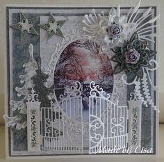 Voorbeeldkaart - Kerstkaart met hekje, - Categorie: Scrapkaarten - Hobbyjournaal…