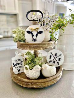 Mason Jar Kitchen, Mini Mason Jars, Kitchen Tray, Farmhouse Kitchen Decor, Cow Kitchen, Country Farmhouse, Faux Shiplap, Cow Decor, Tray Styling