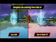 Complete The Swimming Time Trials At Lazy Lake And East Of Hydro 16 - Fortnite Dive Challenges Guide Fortnite Season 11, Swimming Times, Trials, Diving, Lazy, Challenges, Seasons, Youtube, Snorkeling
