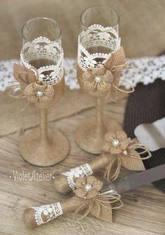 Burlap Flower and Lace Wedding Set, Toasting Flutes and Cake Cutter