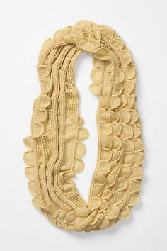 Scalloped Pointelle Loop (infinity) scarf in yellow. In pink too
