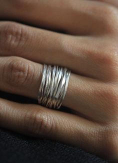 Day 4 - $40 - Handmade Hammered Silver Wire 98% Silver Ring
