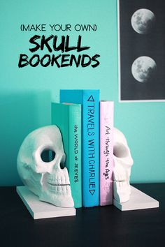 DIY Easy Skull Bookends from The Band Wife here. She found the skull at Michaels and you only need a saw for this DIY.