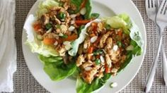 The tastiest, easiest, simplest make-ahead lunch yer eyes ever did see. And yer mouth ever did eat. Thai Chicken Salad, Chicken Lettuce Wraps, Mushroom Soy Sauce, Mushroom Chicken, Coleslaw Mix, Almond Chicken, Salad Wraps, Vegetarian Recipes Easy, Lunches