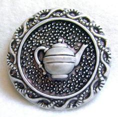 Handcrafted Art Stone Button | Teapot Design