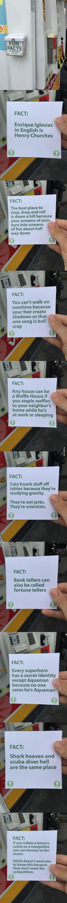 This promotional box is always empty. So this guy filled it with fun facts for people to read while they wait for their gas to pump.