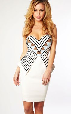 Clothing : Peplum Dresses : 'Carrie' Cream Strapless Peplum Dress from Celeb Boutique. Romper With Skirt, Dress Skirt, Bodycon Dress, Peplum Dresses, New Wardrobe, Fashion Forward, Cute Outfits, Gowns, Carrie