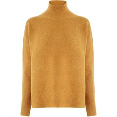 Warehouse Warehouse Ribbed Boxy Turtle Neck Jumper Size L ($55) ❤ liked on Polyvore featuring tops, sweaters, mustard, turtle neck jumper, turtleneck tops, shell tops, brown sweater and boxy sweater