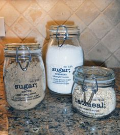 Labeled Jars with transparent labels.
