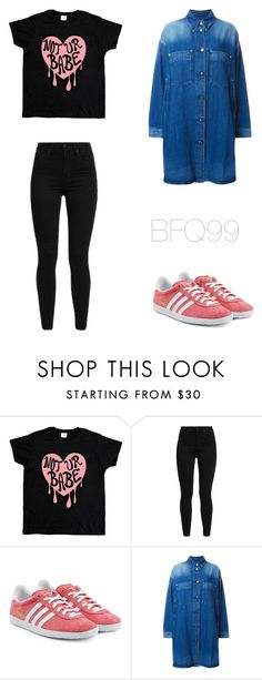 """""""Not Ur Babe Damn Right"""" by blueflamesqueen99 ❤ liked on Polyvore featuring Levi's, adidas Originals, MM6 Maison Margiela, Pink, black, denim, Blue and adidas"""