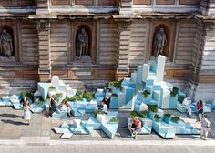 Unexpected Hill provides seating and climbing opportunities at the Royal Academy of Arts.