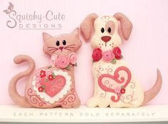 Dog Stuffed Animal Pattern - Felt Plushie Sewing Pattern & Tutorial - Hugs the Valentine Dog - Embroidery Pattern. via Etsy.