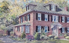 Kathleen paints a highly detailed, custom watercolor house portrait from your photos. These create a personal and stunning focal point for your home. Take Me Home, Illustrator Tutorials, Landscape Art, Custom Homes, Home Art, Watercolor Art, Brick, Cottage, Exterior