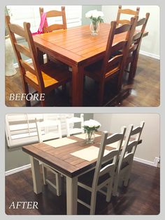 Dining room table project- Annie Sloan Chalk paint and walnut stain Farmhouse Dining Room Annie Chalk Dining Paint project Room Sloan stain Table walnut Dining Table Makeover, Farmhouse Kitchen Decor, Diy Dining Room, Refurbished Furniture, Diy Dining, Furniture Makeover, Dining Room Table, Kitchen Table Makeover, Diy Kitchen Table