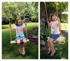 This fun rope swing was a super simple project to do. One of those rare quick-and-easy but lasts-forever fun projects. Rope Swing, Easy Projects, Backyard, Classic, Gardening, Art, Derby, Art Background, Patio