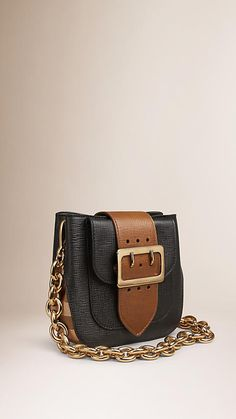 Black The Small Belt Bag – Square in Leather and House Check - Image 1
