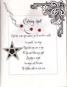 Calming chant    from my own Book of Shadows