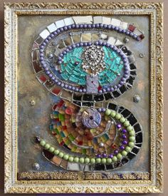 """Biodanza"". Mirror, tiles, smalti and reflective beads."