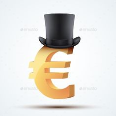 Symbol of the European Euro in Cylinder Hat