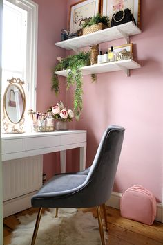 "makeup vanity space in pink grey and gold. Kimberly at SwoonWorthy Make-up dressing room reveal. Pink wall color: ""Little Green Paint Company's Hellebore – a soft and warm rose pink colour"". up room The Reveal of My Tiny Makeup Room & Vanity Space Pink Bedroom Walls, Pink Bedroom Decor, Bedroom Green, Pink Room, Pink Walls, Bedroom Ideas, Bedroom Small, Trendy Bedroom, Pink Bedrooms"
