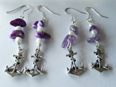 AFL: Fremantle Dockers, amethyst pieces with white beads or purple shell beads with white seed beads.