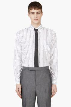 THOM BROWNE White Anchor & Stripe Print Shirt