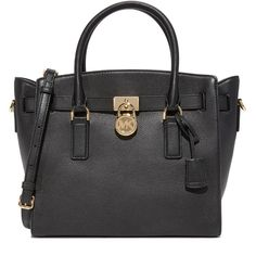 MICHAEL Michael Kors Hamilton Satchel ($298) ❤ liked on Polyvore featuring bags, handbags, leather satchel purse, locking purse, zipper purse, zipper handbag and zip lock bags