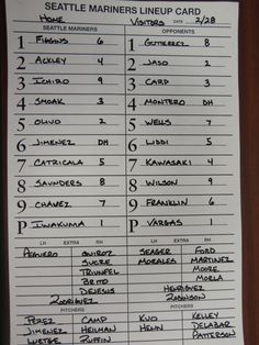 M's lineup card