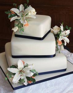 3 Tier Offset Wedding Cake Squares cakepins.com