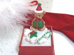 Japanese Kawaii Ring  Christmas Bear by OishisoBitsAndBites, $14.00