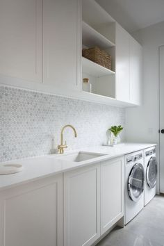 modern laundry room design, modern laundry room organization, laundry room cabinets with sink and open shelves and tile floor, laundry in mudroom design Modern Laundry Rooms, Laundry In Bathroom, Laundry Closet, Laundry Nook, Laundry Decor, Laundry Room Decorations, Laundry Room Utility Sink, Laundry In Kitchen, Redo Bathroom