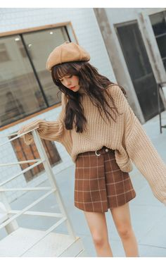 japanese fashion Woolen Plaid Harajuku Kawaii Retro Skirt Autumn and Winter - KawaiiMart Ulzzang Fashion, Kpop Fashion, Cute Fashion, Fashion Outfits, Cute Korean Fashion, Fashion Hacks, Brown Fashion, Korean Spring Fashion, Korean Fashion Kpop Bts