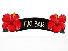 Tiki Bar Red Hibiscus Sign – Twisted Palms Trading Co.