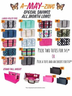 Thirty-One May 2017 Specials Thirty One Party, Thirty One Gifts, Thirty One Business, Large Utility Tote, Thirty One Consultant, 31 Bags, Organize Your Life, One Life, Shopping