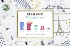 personalised family of wellies poster printable print