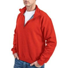 Gildan Men's 1/4 Zip Cadet Collar Sweatshirt, Size: XL, Red