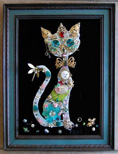 Jewelry Cat with Sunshades by fayesfinearts on Etsy, $66.00
